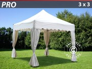 FleXtents Pro 3x3 m. White. Curved valance and 4 curtains