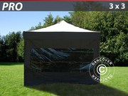 Pop up gazebo FleXtents PRO 3x3 m Black,  incl. 4 sidewalls