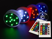 Floralyte LED light base (4 pcs.),  DIA 7cm,  multicolored