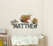 Smashing Triceratops Dinosaur Name Wall Decal